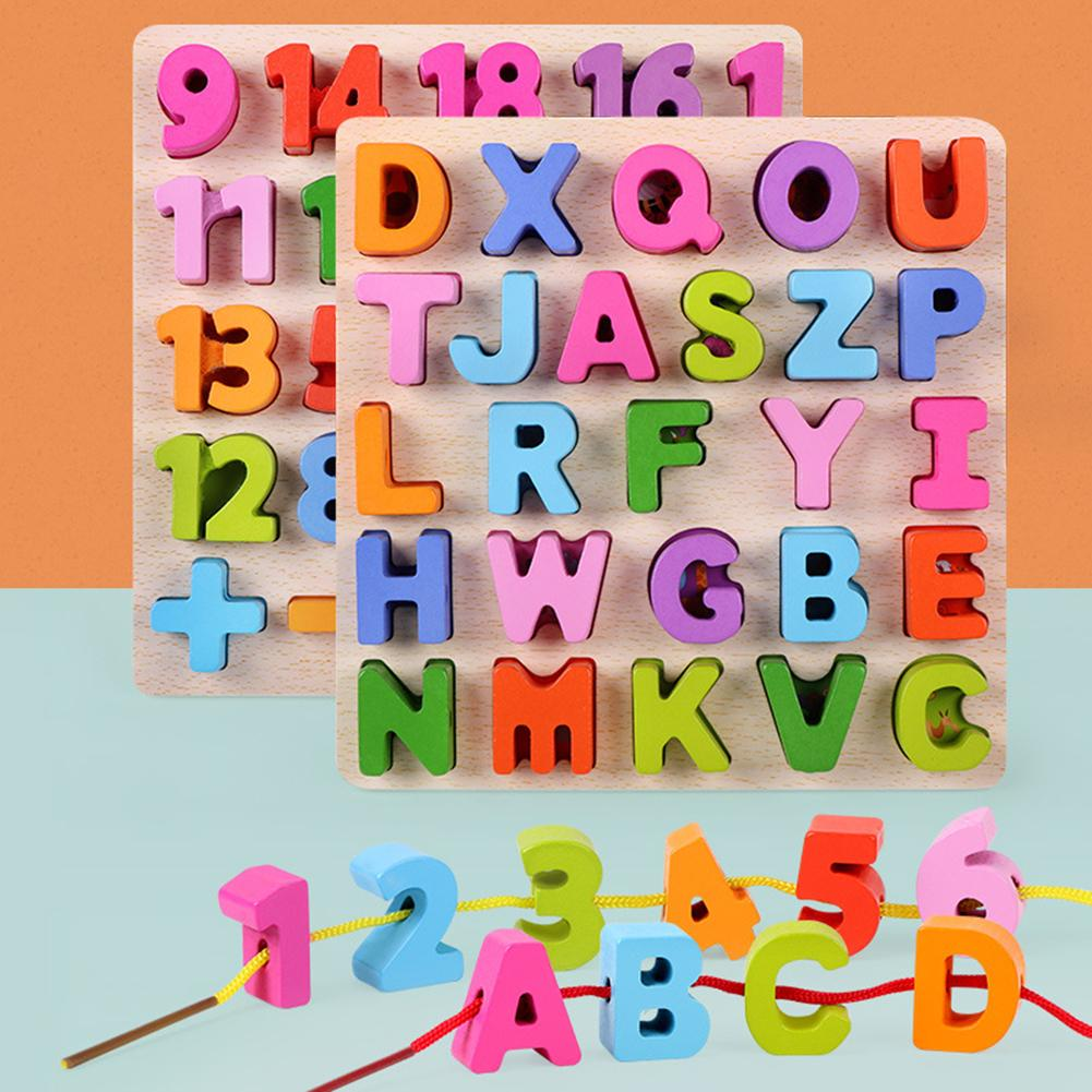 Alphabet ABC Numbers Wooden Puzzles Lacing Threading Beads Game Kids DIY Handmade Toy Development Educational Toys For Children