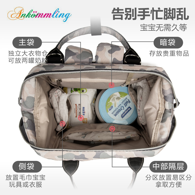 Ankommling backpack diaper bag Multi-Function Mummy Bag Large Capacity Fashion Maternal and Infant Bag with USB