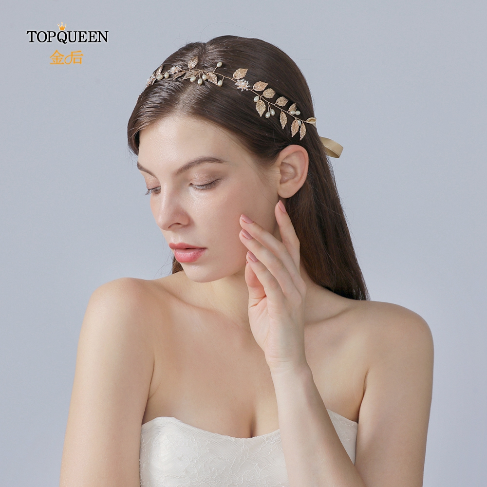 TOPQUEEN HP110 Bridal Headband Handmade Wedding Headpieces With True Pearl Gold Leaf And Diamond Beaded Hair Accessories