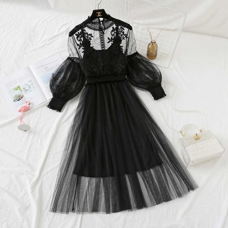 שתי חתיכה להגדיר נשים קיץ תחרה שמלת סט Boho קוריאני ארוך שמלות Mesh חוף מתוק סטים Vestidos דה Verano KJ1737