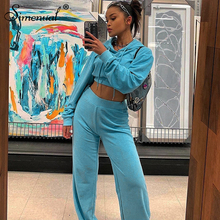 цена Simenual Casual Sporty Velvet Women Two Piece Set 2019 Fashion Active Wear Hooded Outfit Long Sleeve Crop Top And Pants Sets New