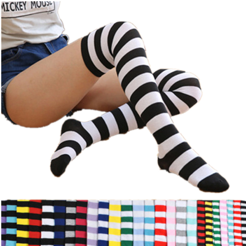 2020 Colorful Sexy Striped Compression Stockings Girl Kawaii Long Body Thigh High Stocking Overknee Boots Cute Women's Stockings