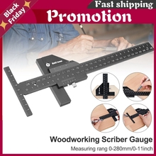 Multifunction Inch Mm Woodworking Scriber Gauge Aluminum Steel Measuring Marking Framing Ruler Tool For Carpentry Diy Tools