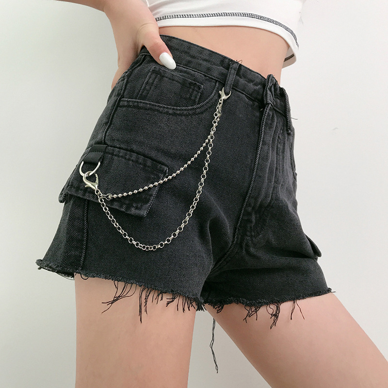 Goth Dark Vintage Gothic Punk Shorts Harajuku Chain Summer 2020 Streetwear Emo Y2K Women's Shorts High Waist Button Torn Edge