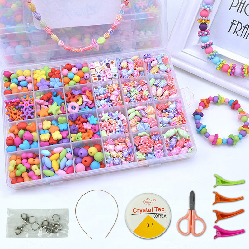 DIY Handmade Beaded Toy With Accessory Set Children Creative Girl Weaving Bracelet Jewelry Making Toys Educational Children Gift