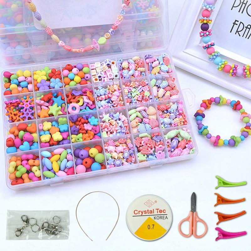 DIY Handmade Beaded Toy With Accessory Set Children Creative Girl Weaving Bracelet Jewelry Making Toys Educational Children Gift