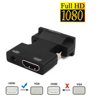 Convertidor hembra a VGA macho HDMI, Adaptador de Audio compatible con salida de señal 1080P, convertidor con Cables de Audio