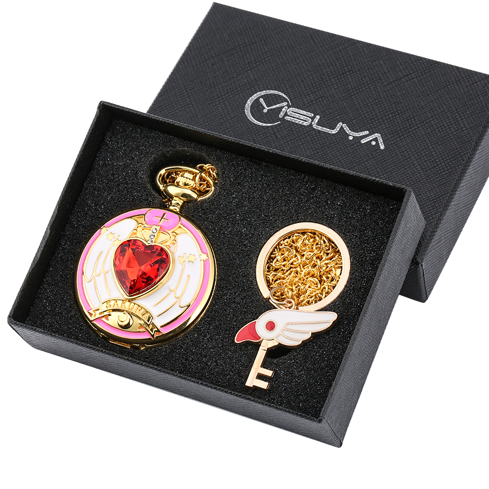 Card-captor Sakura Pocket Watch Set Women Necklace Clock Christmas Gift Box Gold Key Ring Relojes De Bolsillo Para Hombre