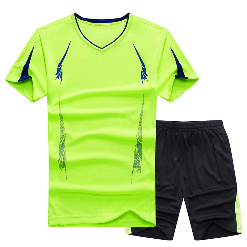 280 Wearable Large Size MEN'S Short-sleeved T-shirt Summer Outdoor Moisture Wicking Quick-Drying Sports Suit Shorts