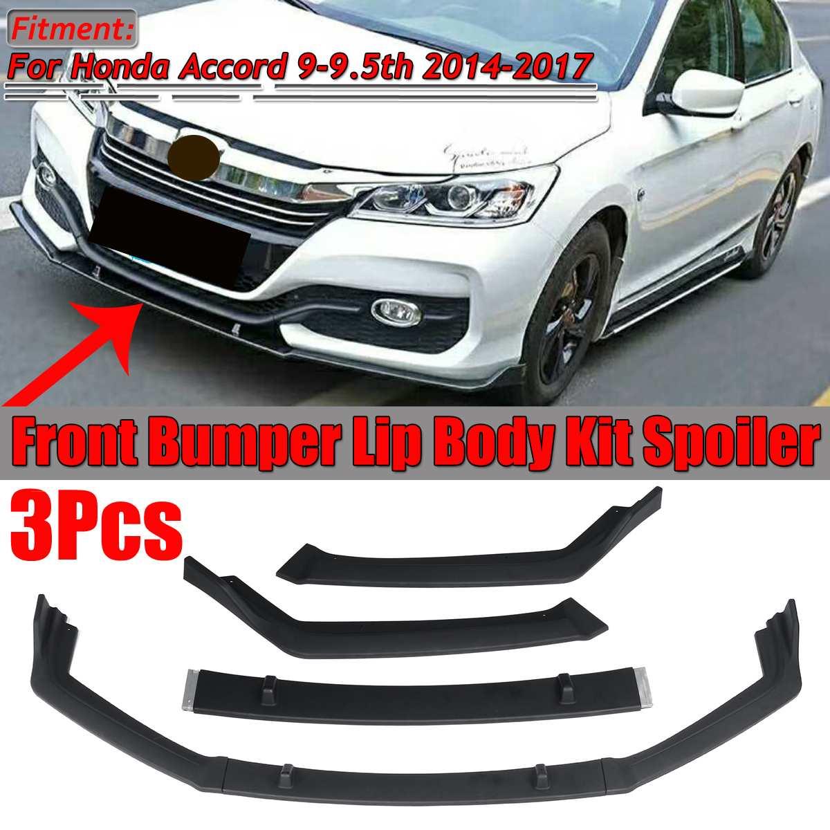 New 3PCS Car Front Bumper Splitter Lip Body Kit Spoiler Diffuser Deflector Lips For Honda For Accord 9-9.5th 2014 2015 2016 2017