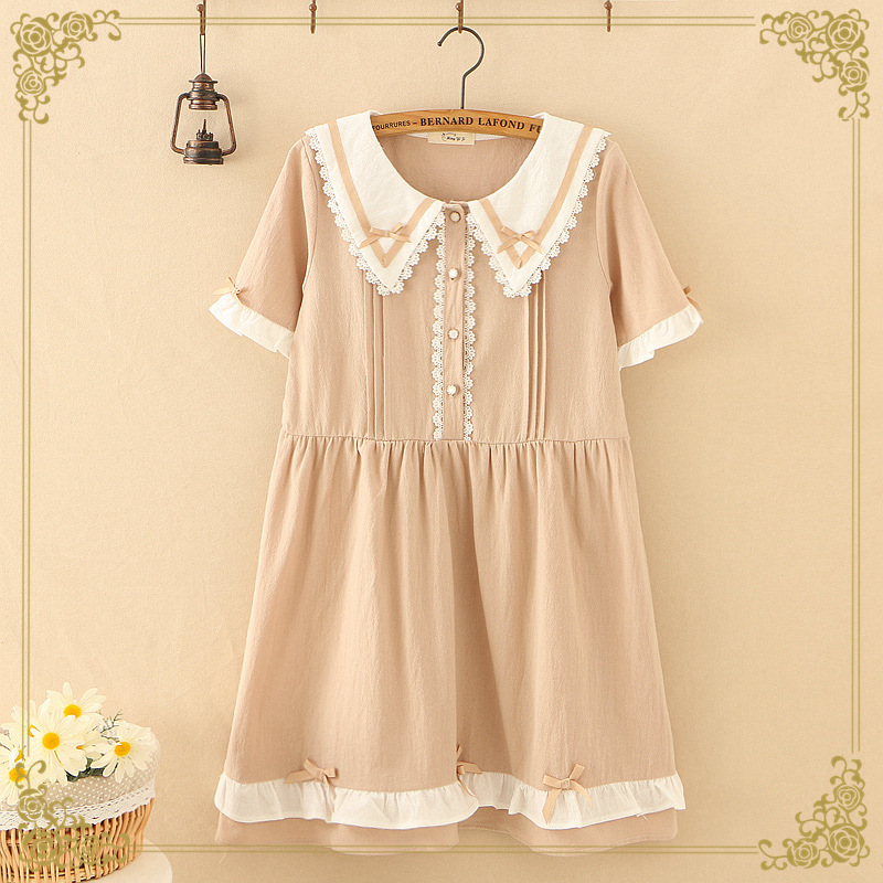 Japanese-style Mori Girl Line Sweet Hipster Lace Navy Collar Pullover Loose-Fit GIRL'S Short-sleeve Dress