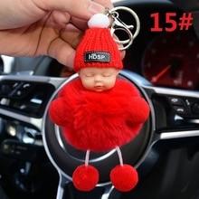Cute Sleeping Baby Doll KeyChains for Women Bag Toy Key Ring Fluffy Pom pom Faux Fur Plush Keychains Car Key Holder Bag Pendant