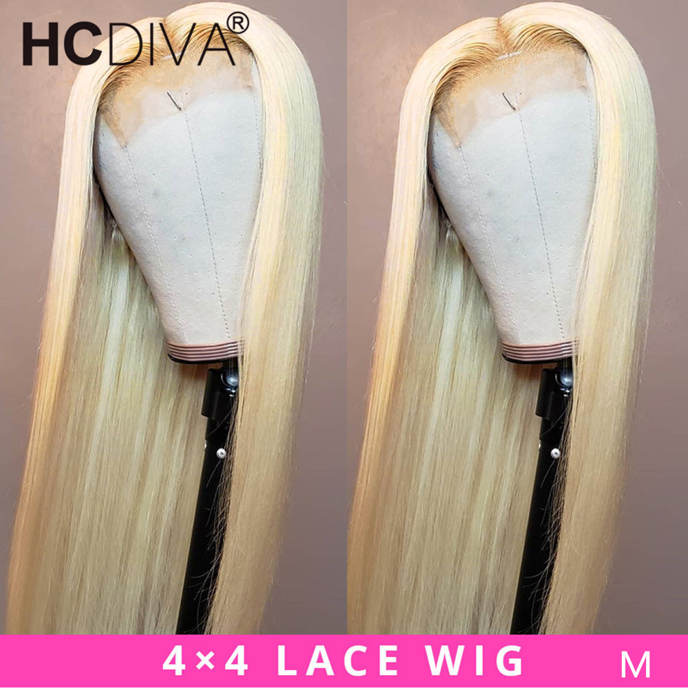 Brazilian Lace Wig 4*4 Straight Lace Closure Wig Remy Human Hair Wigs 613 Blonde Transparent Lace Wig Pre-plucked with Baby Hair