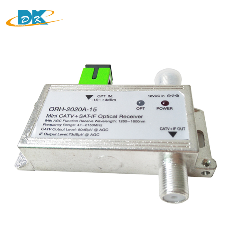 FTTH ORH-2020 optical receiver AGC with 1260-1660nm 47-2150MHz MINI CATV + SAT-IF Optical receiver build-in filter with  AGC