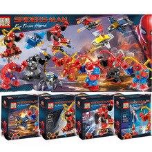 8pcs Marvel Avengers 4 DC Super Heroes Spider Man Far From Home Model Set Building Blocks Toys For Children B575