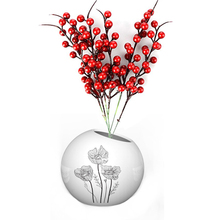 12pcs Artificial Flowers Red Berry Stems Simulation Fruit Berries Flower Christmas Cherry Wedding Decor