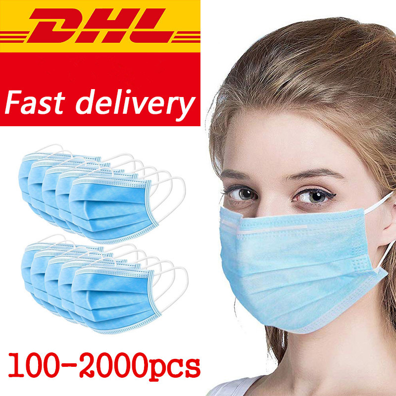 DHL/UPS Fast Delivery 300/500/1000/2000/5000pcs Face Mouth Masks Safety Protective Face Mouth Mask Disposable Mask