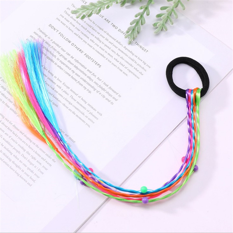 Girls Twist Braid Rope Wig Headband Kids Simple Rubber Hair Band Accessories-WI
