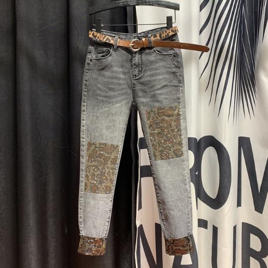 European Plus Size Rhinestone Jeans Women's 2020 Spring New High-Waist Hot Drill Leopard Print Denim Pencil Pants Jean Femme