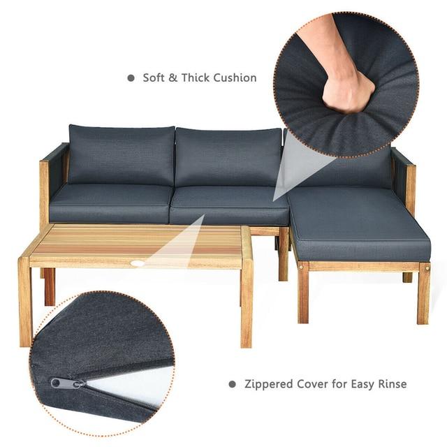 3 Piece Patio Sofa Set with Armrest  4