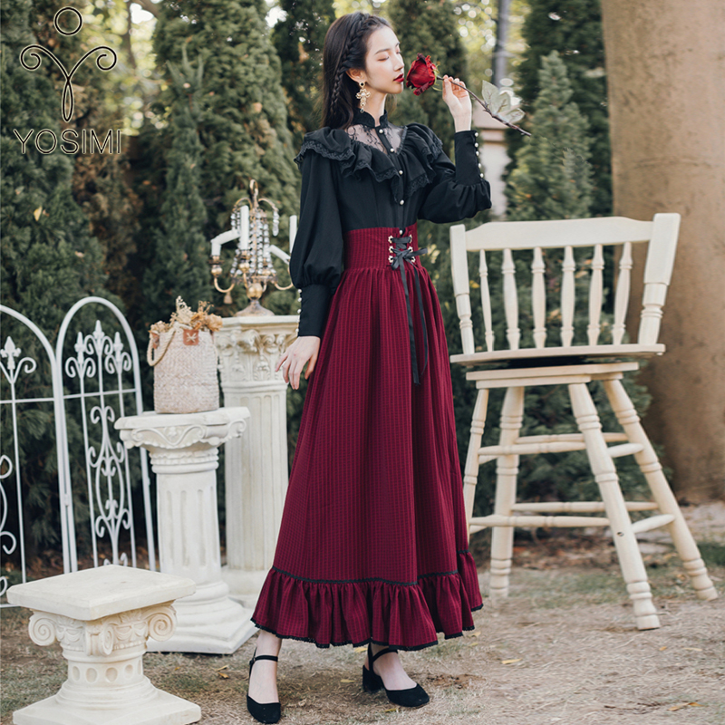 YOSIMI 2020  Two Piece Set Full Sleeve Blouse Top And Plaid Skirt And Top Set Women Two Piece Outfits Black Shirt Lantern Sleeve