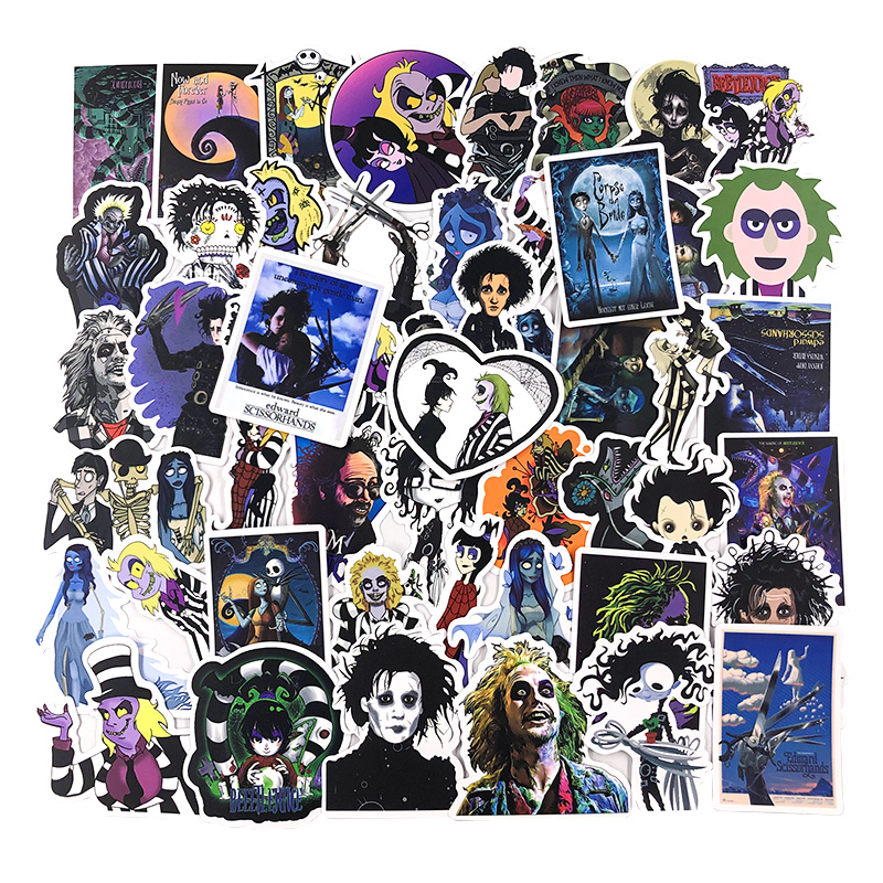 50pcs Stickers Tim Burton Classic Movie Edward Scissorhands Graffiti Sticker For Skateboard Bicycle Laptop Waterproof Decals