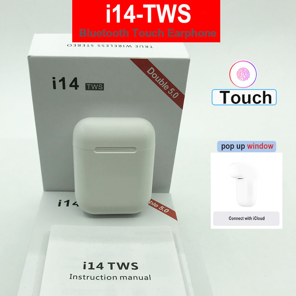 Touch Control i14 <font><b>TWS</b></font> <font><b>2019</b></font> high quality i12 <font><b>TWS</b></font> Bluetooth 5.0 Wireless super Heavy bass earbud For All smart phone pk i10 i11 image