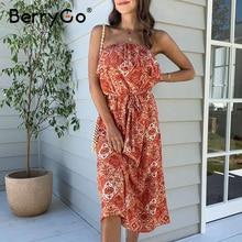 BerryGo แขนกุดผู้หญิง Boho เซ็กซี่ Strapless ruffled พิมพ์ดอกไม้ฤดูร้อนเอวสูง SASH Holiday Beach ชุดหญิง