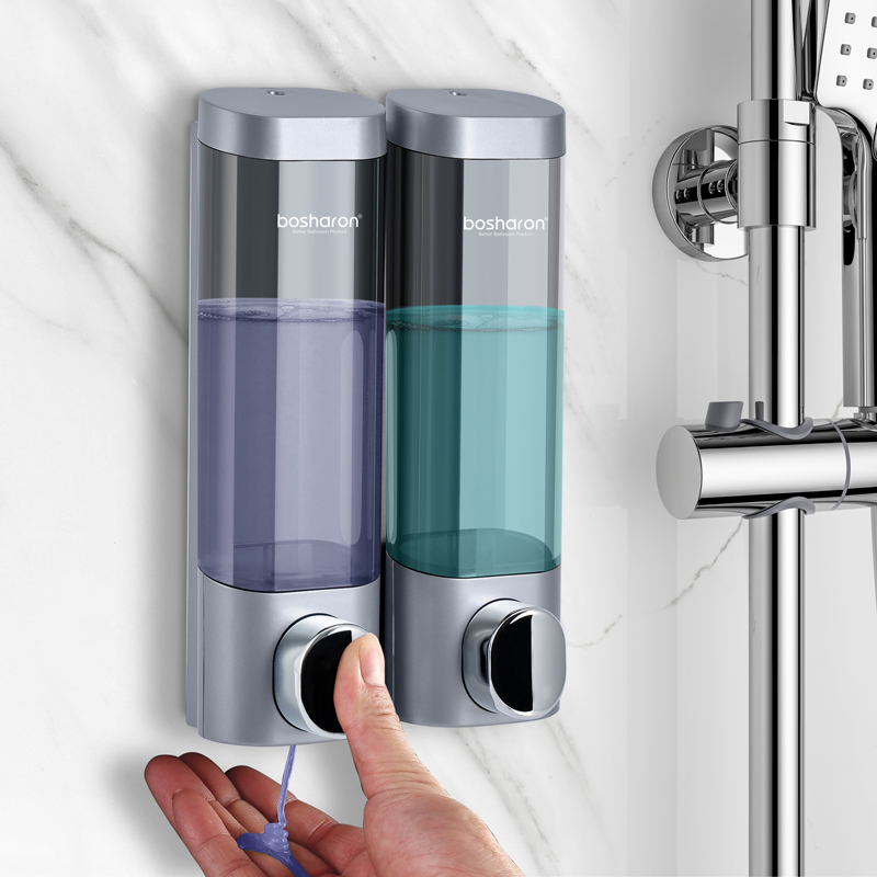 Liquid Soap Dispenser Wall Mount 300ml Bathroom Accessories Plastic Detergent Shampoo Dispensers Double Hand Kitchen Soap Liquid Soap Dispenser Wall Mount 300ml Bathroom Accessories Plastic Detergent Shampoo Dispensers Double Hand Kitchen Soap Bottle