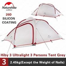 Naturehike Hiby3 Ультралегкая палатка для кемпинга 20D нейлоновая серая белая двухслойная уличная непромокаемая 3 человека портативная семейная палатка