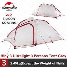 Naturehike Hiby3 Ultralight Tenda Da Campeggio 20D Nylon Grigio Bianco Doppio Strato Esterno Antipioggia 3 Persone Portatile Tenda della Famiglia