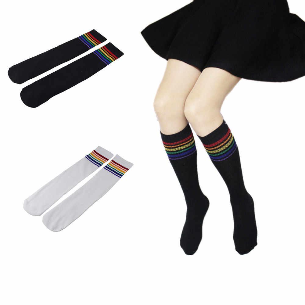 Zakolanówki skarpetki na kolana tęczowy pasek dziewczyny piłka nożna sport skarpety czarne białe, wysokie kobiet skarpety rainbow stos skarpet 2020 nowy