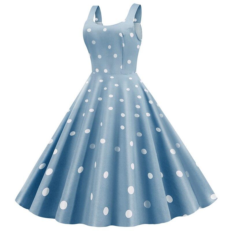 Women Summer Sexy Party Dress Casual Polka Dot Print Hepburn Vintage Robe Femme Plus Size Spaghetti Strap Midi Sundress 2