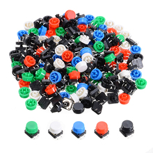 цена на 100pcs Keys Tactile Switch Micro PCB Tact Push Button Momentary Switches 4 Pins 12*12*7.3mm With 100pcs 5 Color Caps Mayitr