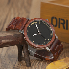 BOBO BIRD M16 Red Sandalwood Analog Watch With Wood Vintage