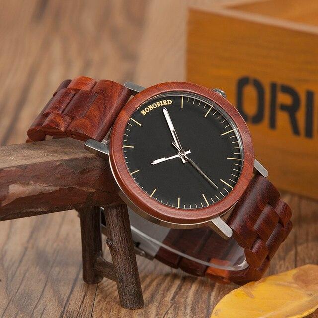 בובו ציפור M16 אדום אלמוג אנלוגי שעון עם עץ בציר שעון ורצועה עבור גברים יכול מותאם אישית כמתנה
