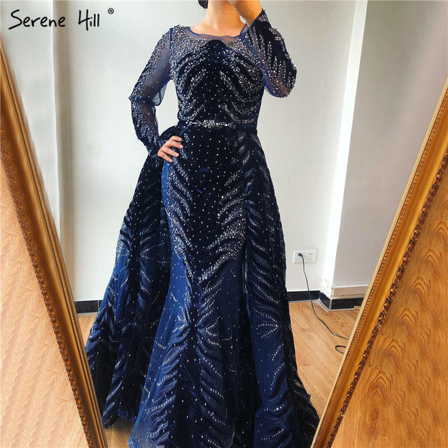 Muslim Luxury Navy Blue Evening Dresses 2020 Long Sleeves  Mermaid Dress With Skirt Sexy Formal Dress Serene Hill LA60914