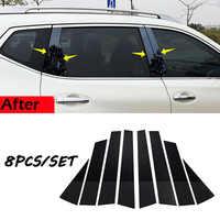 8 pièces voiture garniture de porte noir pilier poteaux pour Nissan x-trail Rogue 2014 2015 2016 2017 2018 PC plastique voiture garniture de porte