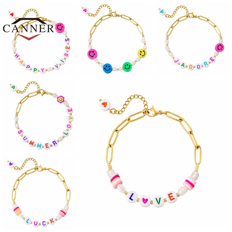 CANNER summer beach style glass pearl handmade ladies bracelet for women fashion chain link bracelets jewelry pulseras mujer