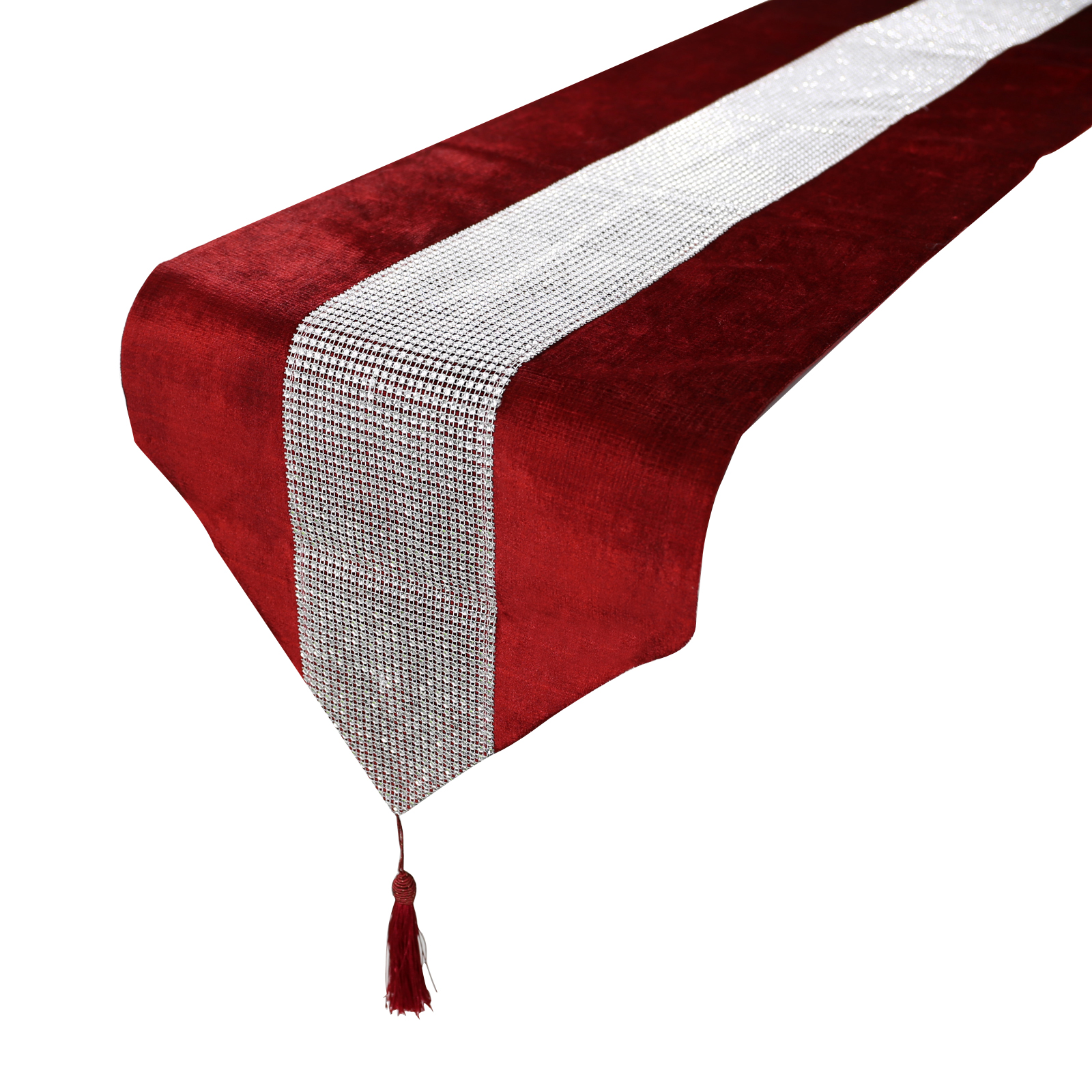 8 Colors Hot Diamante Table Runner Thick Velvet Chenille Satin Tasseled Edge Table Decors Wedding Party Decorations Supply