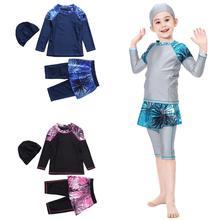 Kids Meisjes Moslim Bescheiden Badmode Islamitische Badpak Beachwear Zwemmen Sets Badpakken Volledige Cover Arabische Kinderen Set Kleding