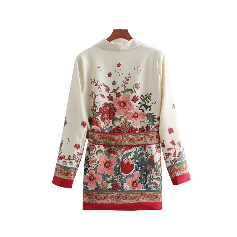 2019 Women Vintage Blazer Floral Print Bow Tie Sashes Coat For Female Tide Retro Chic Outerwear Casaco Winter Clothes Women