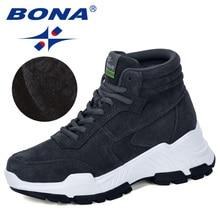 بونا 2019 المصممين الجدد من جلد الغزال أحذية رياضية منصة حذاء برقبة قطيفة شتوي المرأة إسفين عالية حذاء فاخر السيدات مريحة