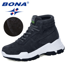 BONA 2019 New Designers  Suede Sneakers Platform Winter Warm Plush Boots Women  Wedge High Top Leisure Shoes Ladies Comfortable