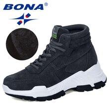 BONA 2019 nowi projektanci zamszowe trampki platforma ciepłe pluszowe buty zimowe damskie klinowe wysokie góry rekreacyjne buty damskie wygodne