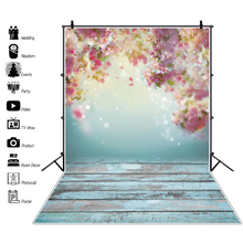 Laeacco Spring Photo Backdrops For Portrait Party Decro Light Bokeh Flowers Blue Wooden Board Photography Background For Studio