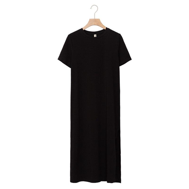 Casual Women Split Long Dress O-neck Short Sleeve Solid blue Summer Cotton T shirt Dress Sales M30465