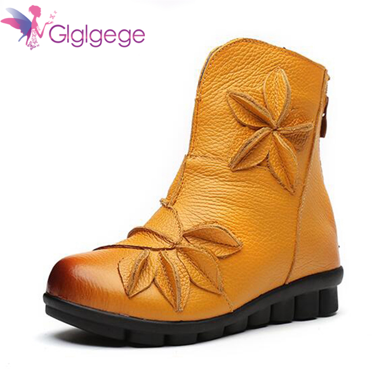 New Glglgege 2019 new leather mother Flat boots women's flat comfortable national wind women's boots handmade flowers casual boots