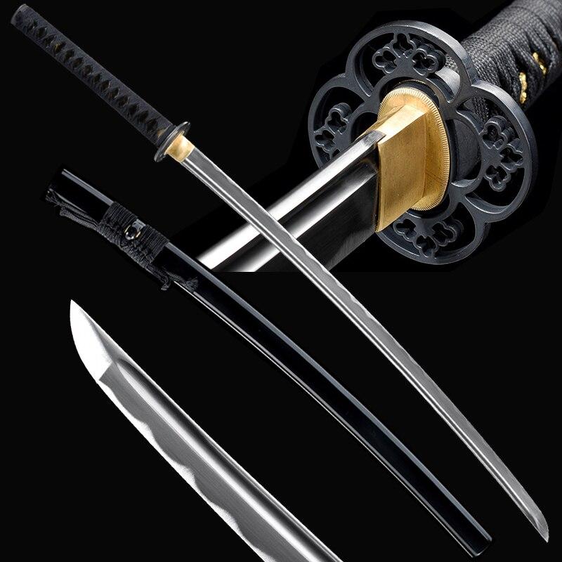 Black Imitate Rayskin Handmade Katana Real-Sharp Japanese Sword Practical Props Full Tang