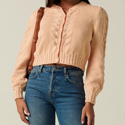 2020 Early Autumn Knitted Cardigan Sweater Women Hollow Out Single Breasted O-neck Slim Short Coat Tops Long Sleeve Femme Outwea